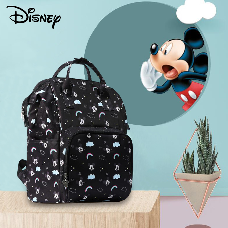 Disney Minnie Mickey Diaper Bag Baby Diaper Bag Backpack For Moms Nappy Bags Wetbag Grande Nursing Bag For Baby Care Rainbow New