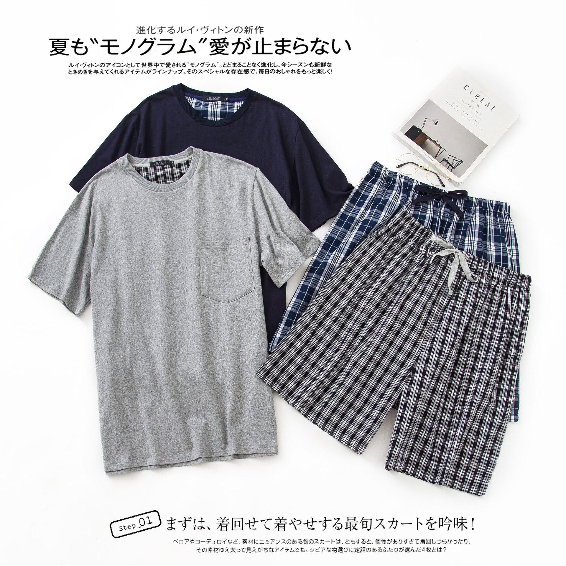 New O-Neck Cotton Mens Summer Woven Short Sleeve Shorts Pajamas Set Men Pijamas Big Size Plaid Sleepwear Leisure Suits Nightwear