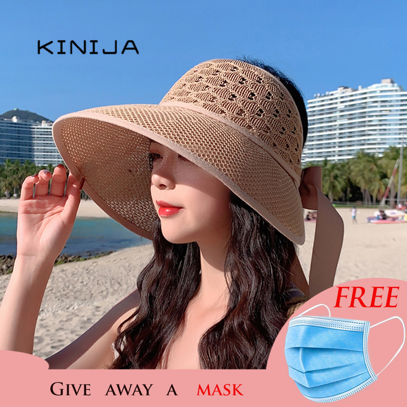Summer ladies hats and caps uv protection straw hat sombrero playa beach hats women Hollow out Bandage wide brim Visor sun hat