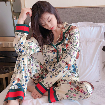 HaloSweet Slik Sleepwear Women Pajamas Suit Long Sleeves Winter Two Pieces Home Wear Set With Pants Female Clothes For Women