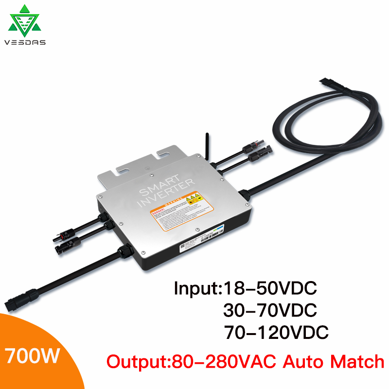 700W IP65 PV Solar Grid Tie Micro Inverter Smart Microinverter Inversor,Input 18-50VDC, Output 80-280VAC for On Grid System