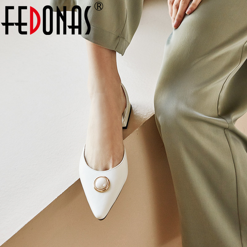 FEDONAS Genuine Leather Women Shoes Elegant Pointed Toe Pumps Spring Summer 2020 Shoes Pearl Decoration Wedding New Shoes Woman