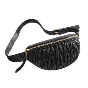 Image 1 - Riñonera a rayas de piel suave para mujer, Cangurera femenina de alta calidad, plegable de lujo, adecuada para llevar en el hombro, a la cintura