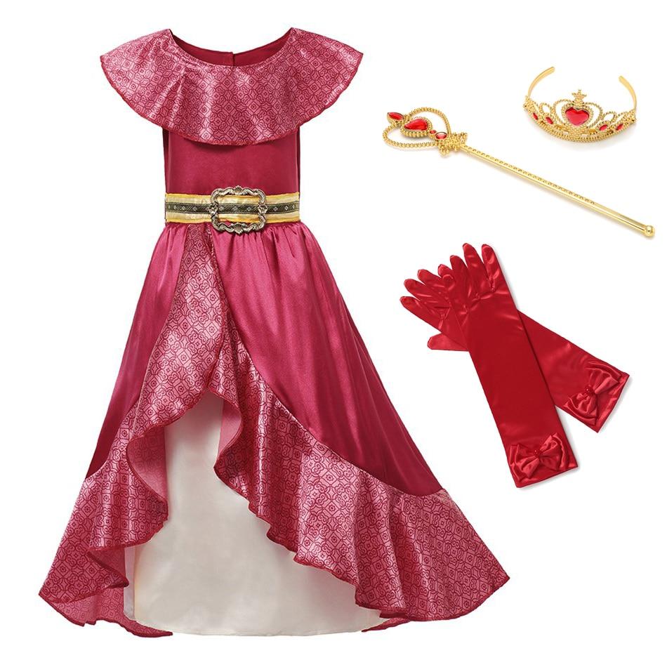 Menina princesa vermelha elena crianças fantasiar-se cosplay traje sem mangas deluxe vermelho crianças festa de halloween fantasia elena vestido