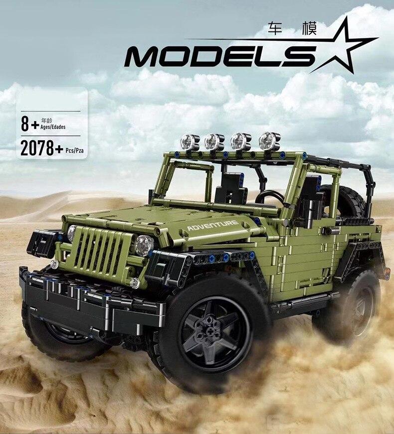 MOC Technic Series RC Jeeps Wrangler Adventure Off-road Vehicle Model Building Blocks Bricks Compatible Legoed Toys DIY Gifts