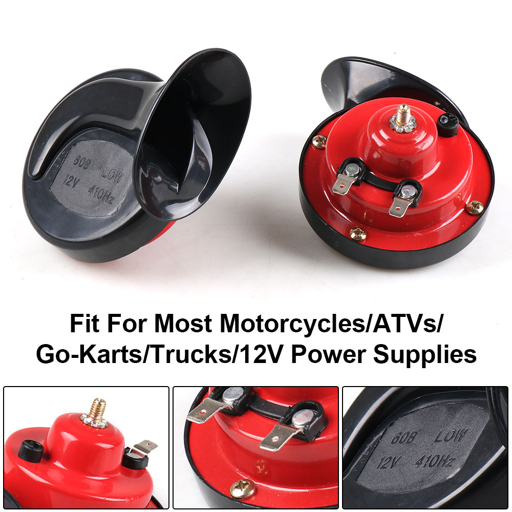 UNIVERSAL LOUD REPLACEMENT 12v MOTORCYCLE MOTORBIKE RED HORN 110db