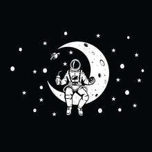 Vinyl wall sticker Moon Planet Space Wall Art Stars Decal Outer space wall decals Rocket Ship Astronaut Decal Kids Bedroom HY751 custom name wall sticker never grow up vinyl cartoon wall art decals pirates ship decal hook kids wall decal bedroom decor hy750