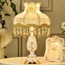 European fabric Style Table Lamp modern Bedroom Bedside Lamp Art home Deco Table Lamps for Living Room Study Resin Desk Light