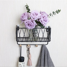 Wooden Iron Wall Shelf Wall Mounted Storage Rack Organization For Kitchen Bedroom Home Decor Kid Room DIY Wall Decoration Holder(China)