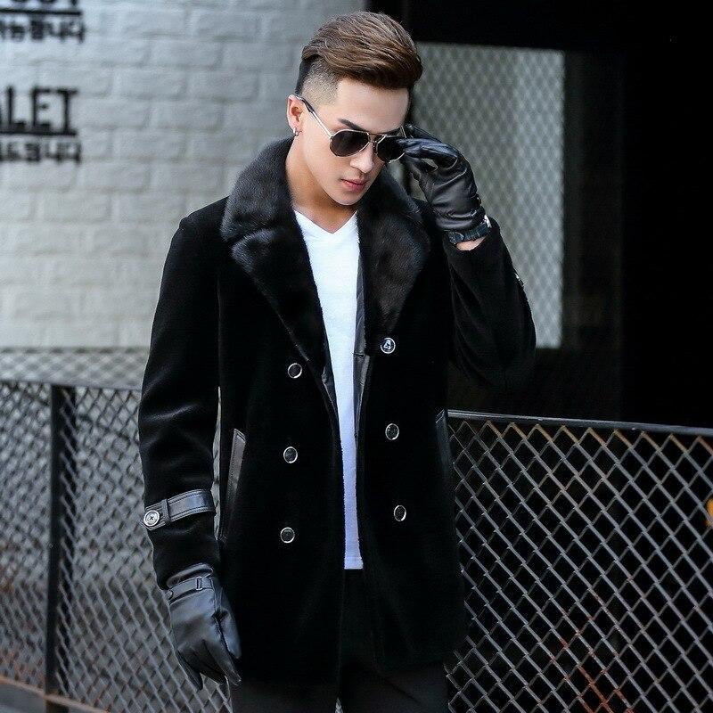Autumn Winter Real Fur Coat Men Sheep Shearling Jacket Mink Fur Collar Long Coat Plus Size Mens Jackets1710 KJ839