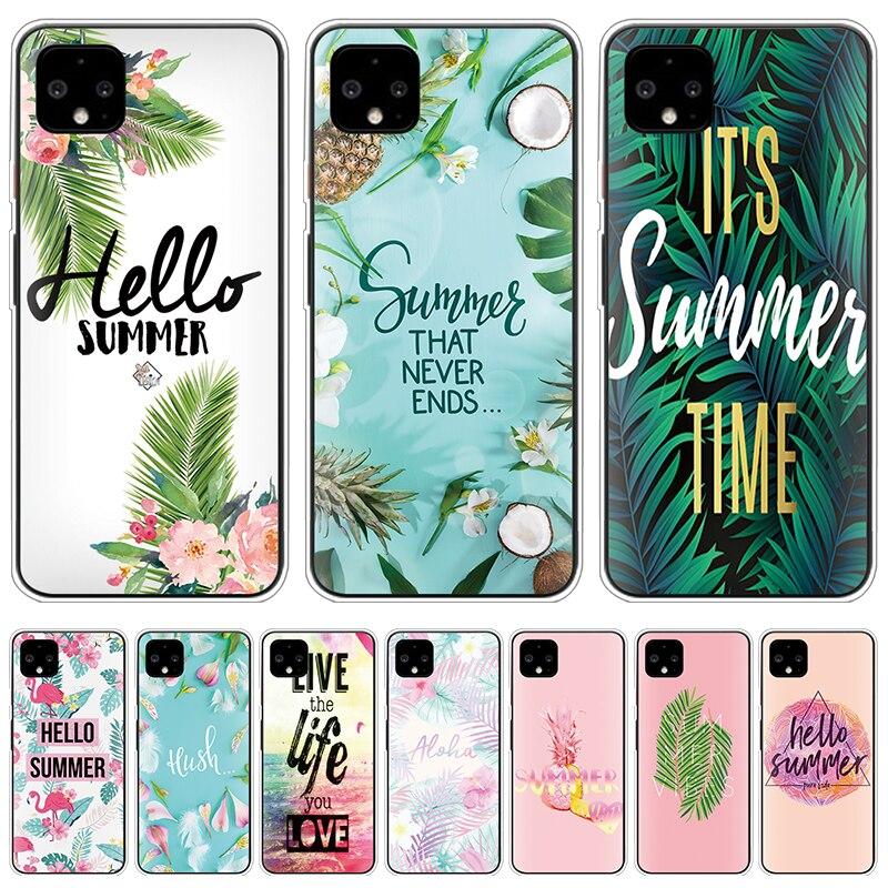 Hello Summer Phone Case For Google Pixel 4 XL Clear Soft Silicone Coque For Google Pixel 3A 3 2 XL Cover TPU Flower Leaf Fundas