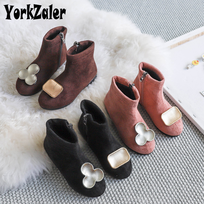 Yorkzaler 2019 New Fashion Autumn Winter Kids Boots For Girls Suede Flat Non-slip Casual Girl Boots Toddler Baby Shoes 26-30