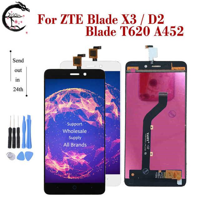 """5 """"LCD ZTE Blade X3 tam LCD bıçak D2 ekran dokunmatik ekran sensörü sayısallaştırıcı meclisi T620 A452 ekran yedek LCD yeni"""