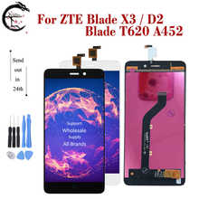"""5 """"LCD dla ZTE Blade X3 pełny ekran LCD D2 ekran dotykowy Digitizer zgromadzenie T620 A452 wymiana wyświetlacza LCD nowy"""
