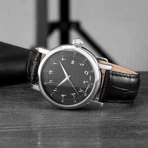 Image 4 - Men Arabic Watches Muslim Wrist Watch Automatic Self wind Movement Luxury Urdu Number AZAN Watches