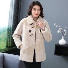 Winter Woman Warm Teddy Cozy Coat Faux Fur Imitation lambs Wool Bomber Jacket Women Turn Down Collar Horn Button Plush Outerwear