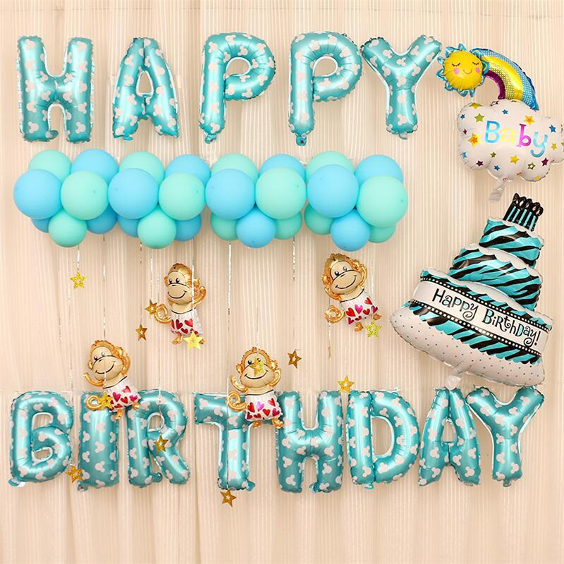 Cute Monkey Theme Baby Party Decorations Set Newborn Baby Boys Girls Birthday Party Baby Shower Party Children's Day