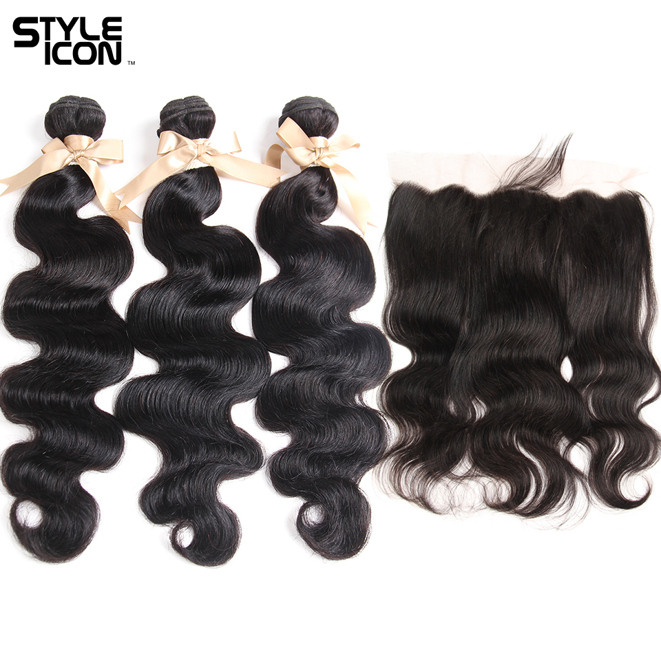 Styleicon Bodywave Bundles With Frontal Malaysian Body Wave Bundles With Frontal Human Hair Bundles With Lace Frontal Hair Weave