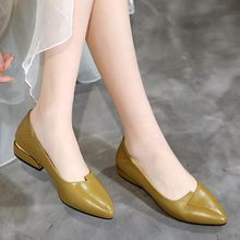 Shoes Square Heel Spring Low-Heels Pointed-Toe Women's Pu for Casual Summer