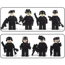 8PCS Assembled Building Blocks Military Special Forces Soldiers Bricks Figures Guns Weapons Compatible Legoings Building Blocks(China)