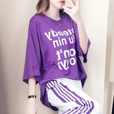 Sports Set WOMEN'S Short Sleeved 2019 Summer New Style Korean-style Loose-Fit Capri Pants Fashion Casual Large Size Two-Piece Se