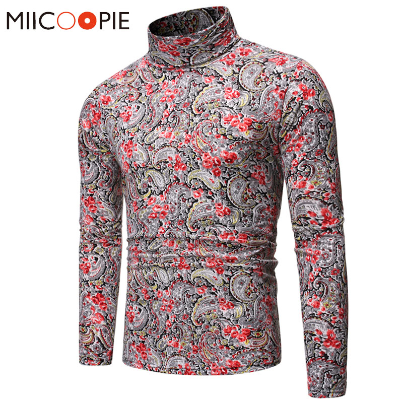 Luxury Floral Turtleneck Sweaters Men Casual Fashion Long Sleeve Pullover Mens Sweater Shirt Autumn Male Knitted Clothes Coats