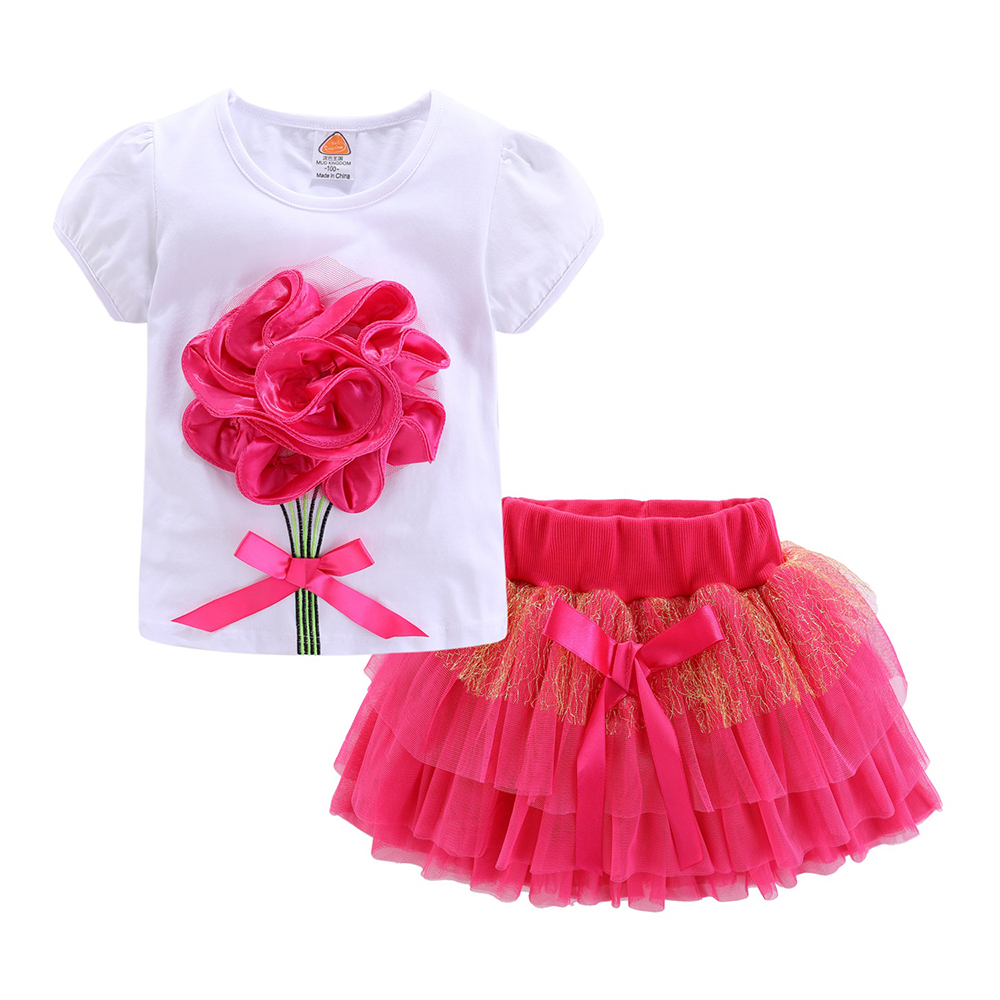 Mudkingdom Girls Outfits Boutique Flower Pattern Children Clothing Set Lace Bow Baby Girl Skirt Sets 3