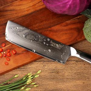 """Image 5 - SUNNECKO Premium 7 """"japoński VG10 damaszek tasak nóż Steel Blade noże kuchenne G10 uchwyt ostre mięso warzyw gotowanie narzędzia"""