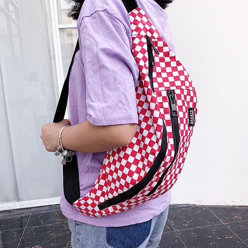 Waist Bag Men Women 2019 New Canvas Large Capacity Chest Pack  Hip Hop Girl Belt Bags Casual Plaid Travel Bag Unisex Fanny Pack