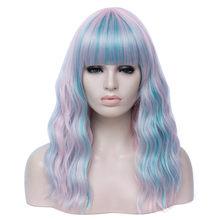 Pink Blue Gradient Cosplay Wig 18inch Long Ombre Wavy Wigs Synthetic Natural Heat Resistant Hair for Black Women(China)