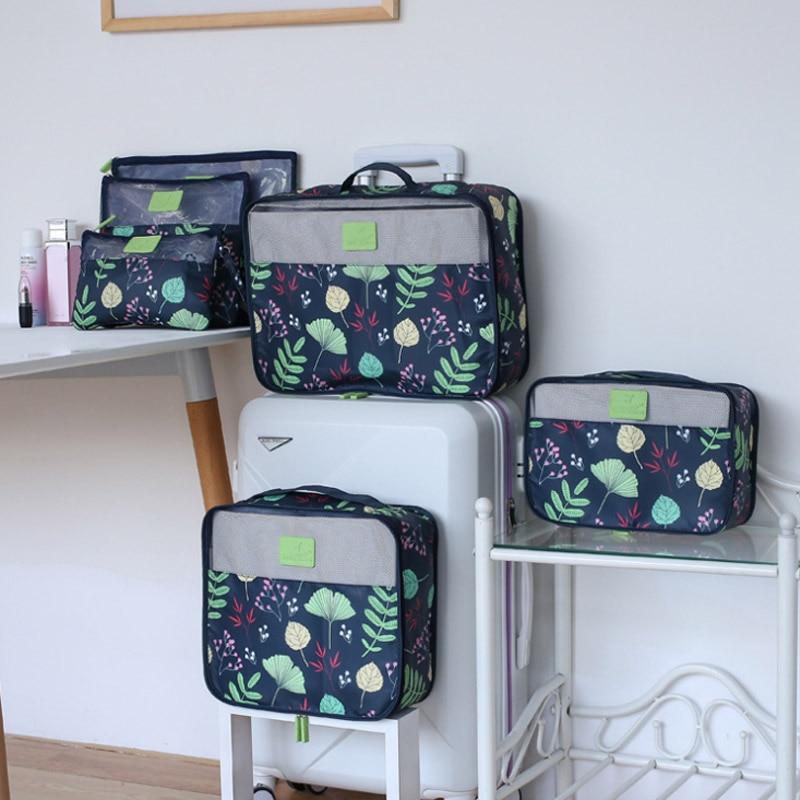 New 6 Pcs/Set Travel Bags Clothes Shoes Underwear Suitcase Organizer Cosmetics Storage Bag Wardrobe Dufflel Luggage Accessories