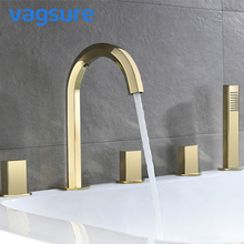 купить Rose Gold/Gold/Black Electroplated Brass Waterfall Bathtub Faucet Three Handle Mixer Tap With Hand Shower for Massage Tub по цене 19023.52 рублей