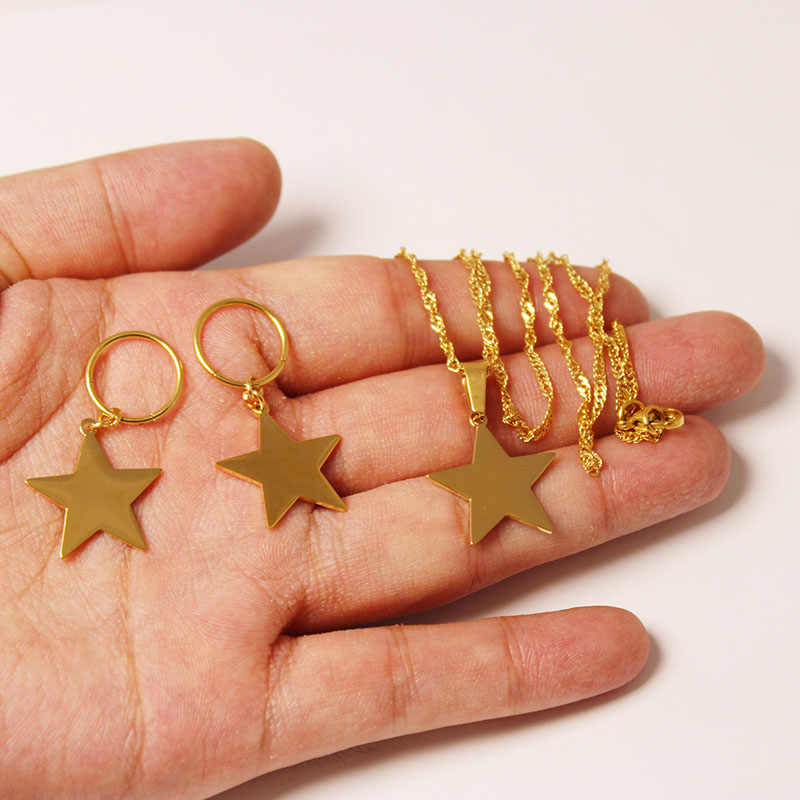 Star Pendant Necklaces Earrings Women Gold Color Stainless Steel Jewelry Gifts