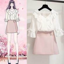 New Summer Women Clothes 2 Two Piece Set Ladies Casual Ruffles Blouse + Mini Skirt Suits Ensemble Femme Slim Outfit AE917(China)