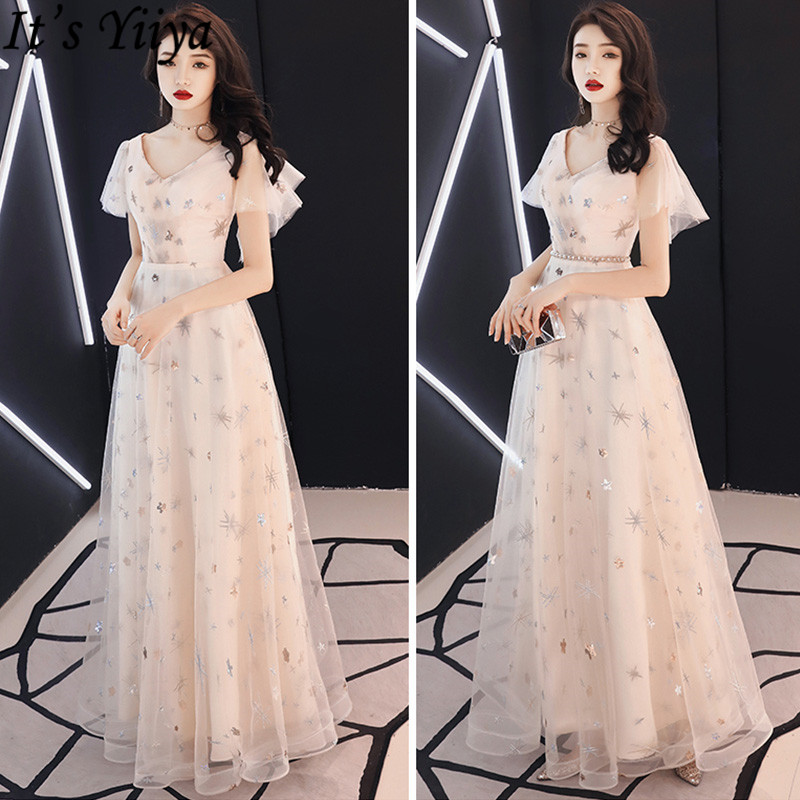 It's Yiiya Prom Dress Sexy V-Neck Short Sleeve Sequined A-Line Dresses Women Party Night Embroidery Plus Size Formal Gowns LF197