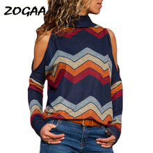 купить 2019 Autumn Women Sweater Sexy Cold Shoulder Turtleneck Pullover Sweater Striped Print Loose Casual Sweaters Ladies Jumpers Tops онлайн
