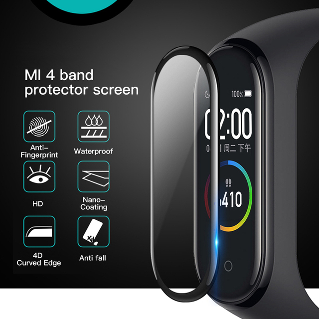 20D Curved Edge Protective for xiaomi mi band 4 glass Scratch resistant miband 4 film Full