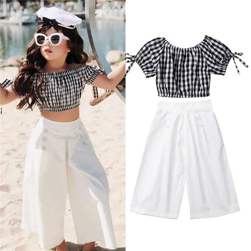 Summer Children Kid Baby Girls Clothing Set Suit Short Sleeve Plaid Crop Top+loose Pants Outfits Clothes 2-6 Years