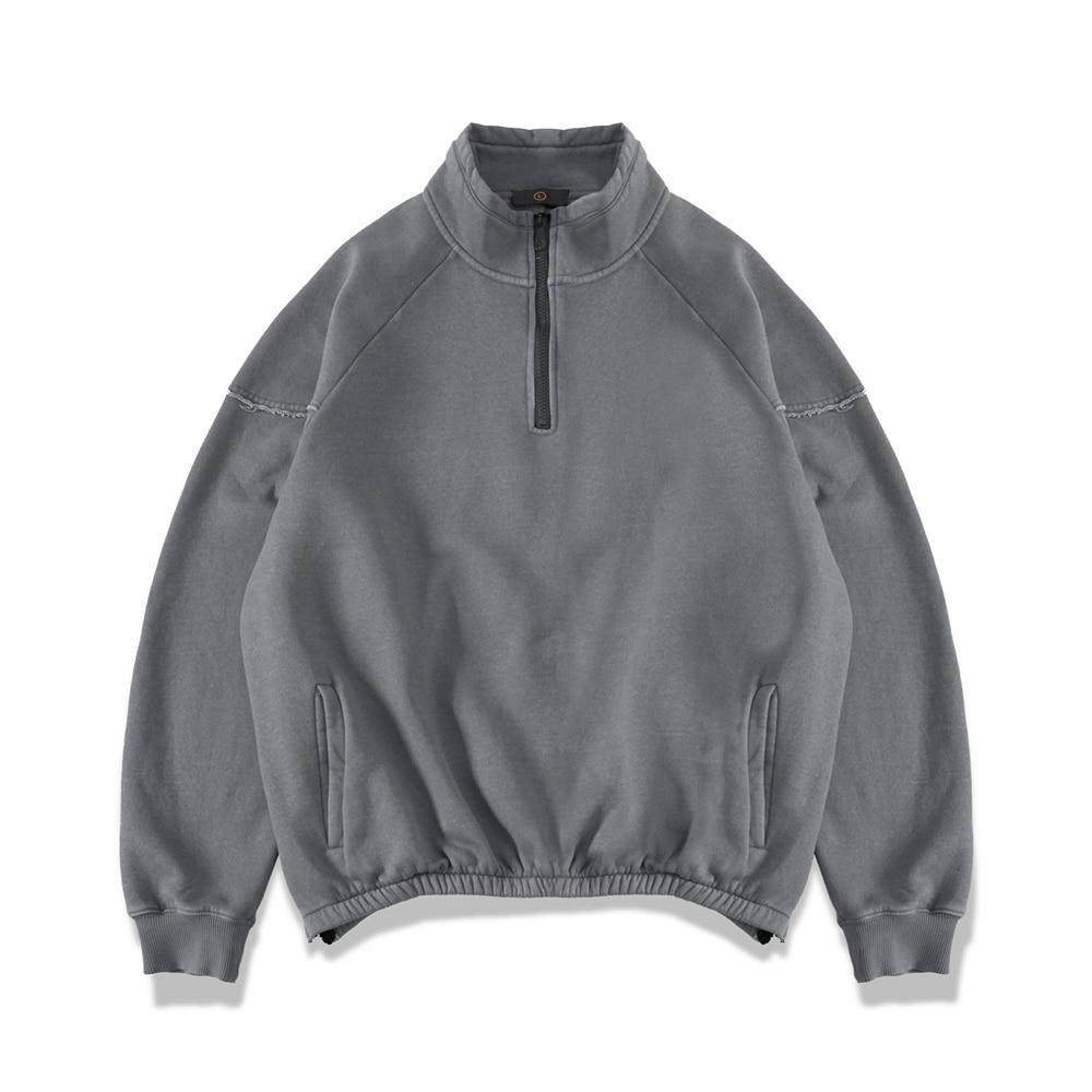 Distressed Raglan Sweatshirt Kanye Hip Hop Vintage-washed Fleece Pullover Zipped Slits Streetwear