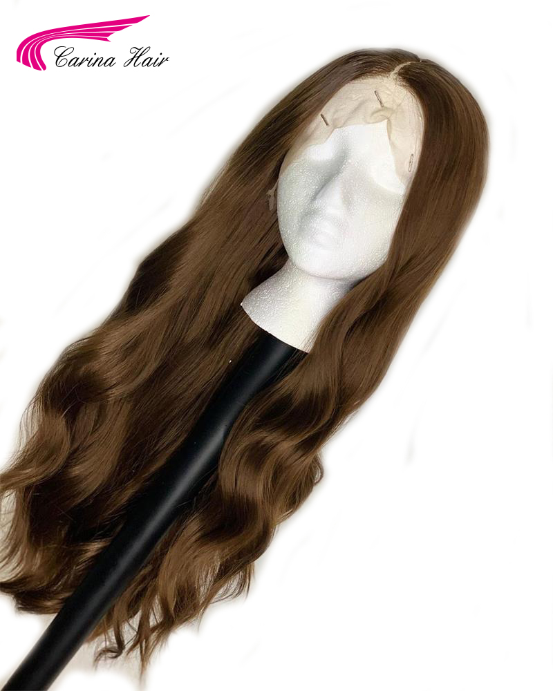 Carina Wavy Lace Front Human Hair Wigs With Baby Hair 13*3 Lace Remy Hair Pre-plucked Brazilian Ombre Colored Wig