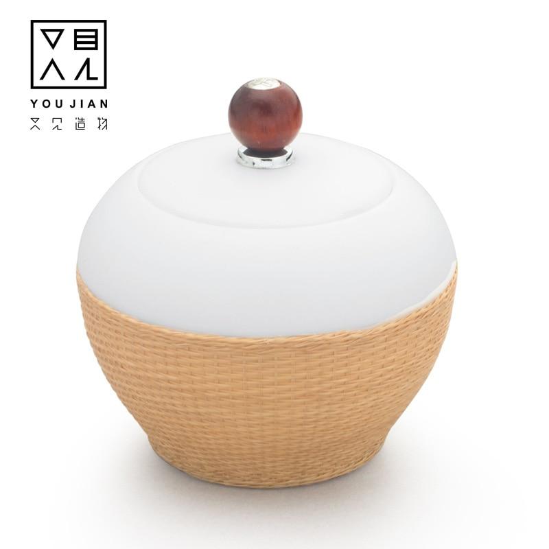 Dehua white porcelain Kitchen Tea Box Jar Storage Holder Sweetmeats Candies Cans Teaware Tea Caddies tin containers storage box