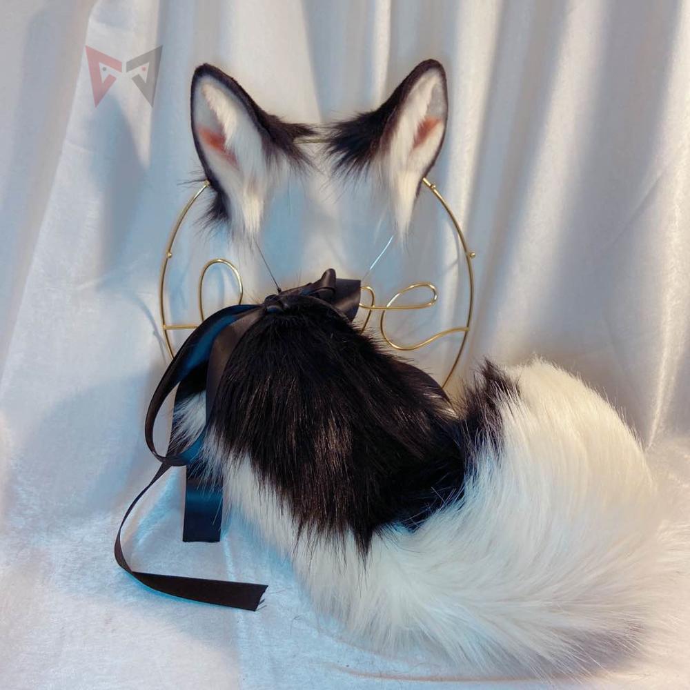 New Lolita Cosplay black dog neko fox ears headband Hair Hoop HairpinTail Set for girl and women carnaval accessories