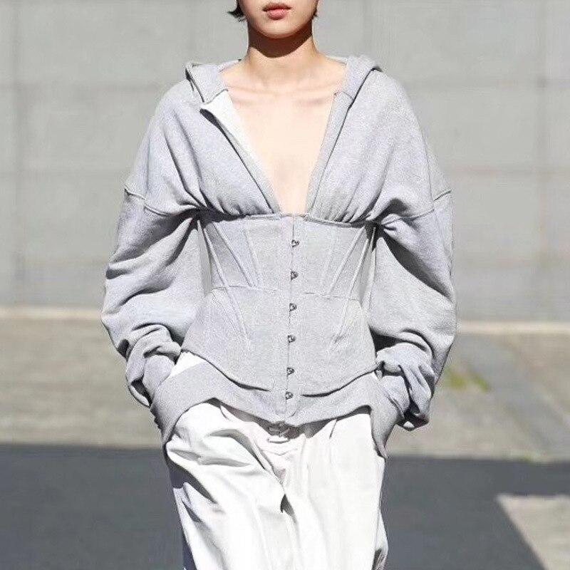 Women Autumn Long Sleeve Zip Hoodies Casual Solid Sweatshirt Slim Corset Sport Workout Gym Jacket V-neck Women Jacket