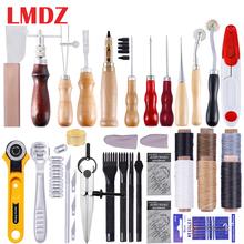 LMDZ skórzane narzędzia rzemieślnicze zestaw do naszycia dziurkacz rzeźba praca siodło skórzane akcesoria rzemieślnicze DIY narzędzia skórzane tanie tanio HAIMAITONG CN (pochodzenie) Steel+Wood S1LE0171-1 Leather suit Handmade Leather Tool Set Leather craft Accessories DIY leather tools