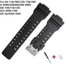 16mm silicone pulseira de relógio de borracha apto para casiog choque substituição preto impermeável dwaterproof pulseiras acessórios