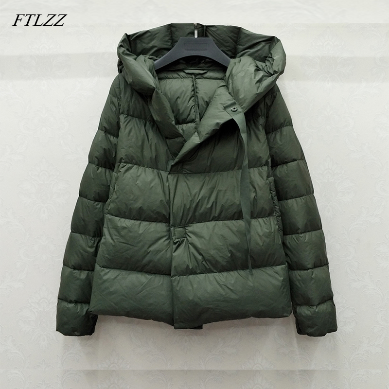 FTLZZ 2019 New Winter Short Down Jacket Women Ultra Light White Duck Down Coat Parkas Hooded Parkas Warm Female Snow Outwear