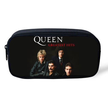 цена на Fashion Pencil Case Queen Band Printing Primary Students Pen Bags Cool Band Designer Women's Travel Organise Beauticans