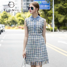 SEQINYY Elegant Mini Dress 2020 Summer Spring New Fashion Design Sleeveless Plaid Slim Sheath Blue Women