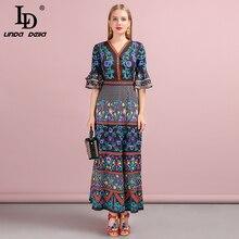 LD LINDA DELLA 2019 Autumn Women Dress Runway Fashion Designer Flare Sleeve Flower Printed Vintage Slim Holiday Long Dresses цена и фото