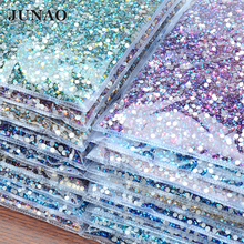 JUNAO Wholesale Aquamarine Glitter Glass Rhinestone Applique Flat Back Round Diamond Non Hotfix Crystal Strass Nail Stones